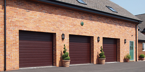 three red garage doors