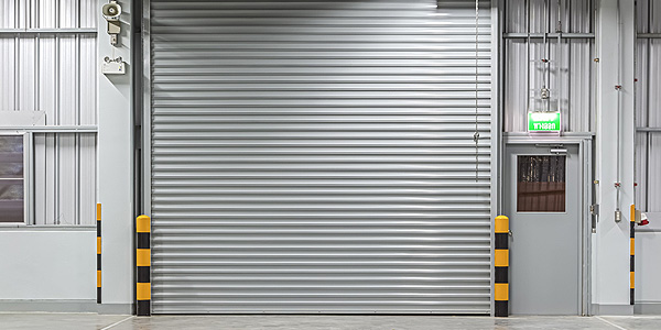 silver industrial shutter