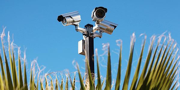 3 silver cctv cameras