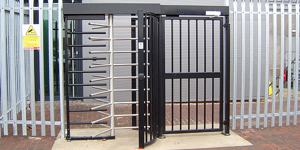 silver and black turnstiles