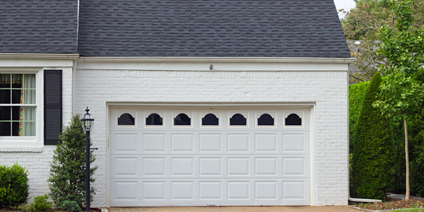 double garage door in white colour