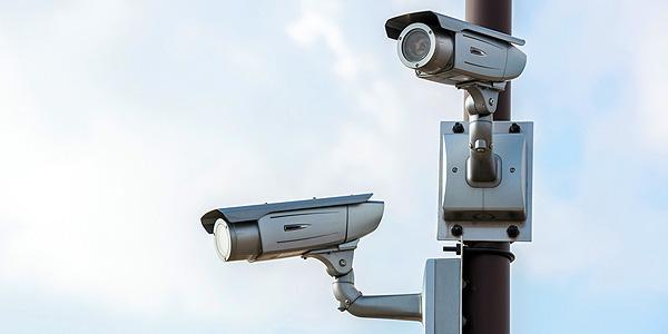 silver public cctv camera