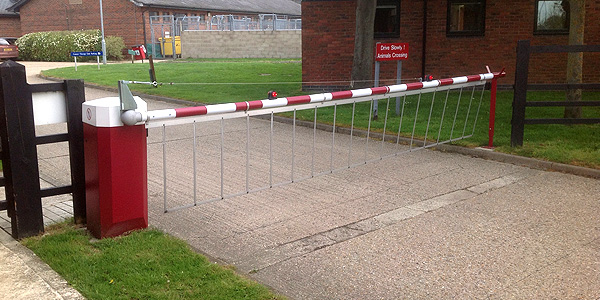 red and white parking barriers
