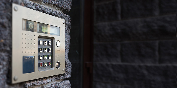 door entry system in silver colour