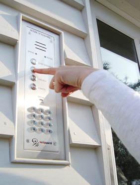 door entry system installed panel