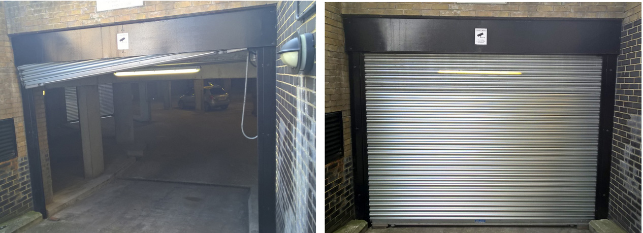 roller shutter repairs in Bedford before and after