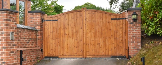 Wooden Driveway Gates With Pedestrian Access